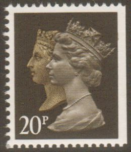 SG1469 20p Phosphorised Paper Double Head Machin Stamp Harrison Print Imperf at Right